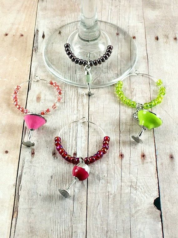 Cocktail Wine Glass Charms - Cocktail Wine Charms - Wine Drink Tags - Wine Gifts - Wine Charm Set - Cocktail Party Wine Tags - Wine Favors