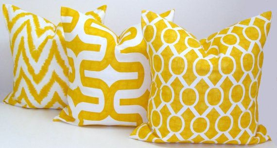 Gray.Yellow Pillows.ALL SIZES.Decorator Pillow by ElemenOPillows $14.66+ CAD on Etsy