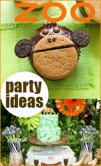 Zoo Party Ideas.  Great ideas for an animal party.  Fun for a boy or girl birthday party.  Animal cupcakes, party tables, decorations and more.