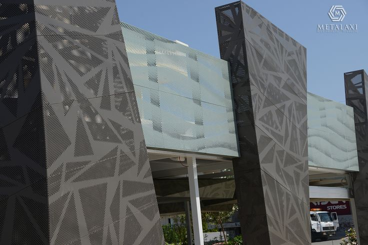 Recovery Building System made of perforated aluminium. Pizzeria Project 2015. Innovative Architectural Products. Life is in the details. www.metalaxi.com
