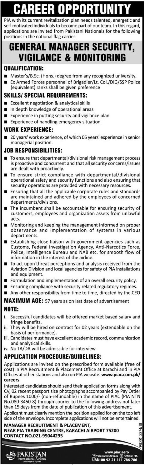 Pakistan International Airlines PIA Jobs 2017 In Karachi For Manager Security http://www.jobsfanda.com/pakistan-international-airlines-pia-jobs-2017-karachi-manager-security/