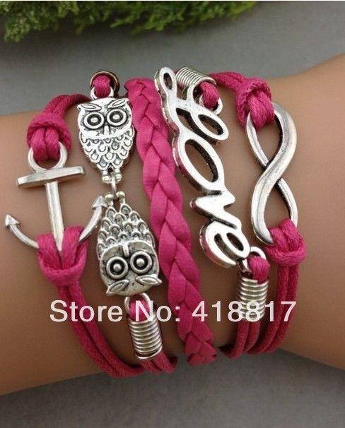 Бесконечность, Любовь, Совы и якорь браслет в ярко розовый шнур - дружба