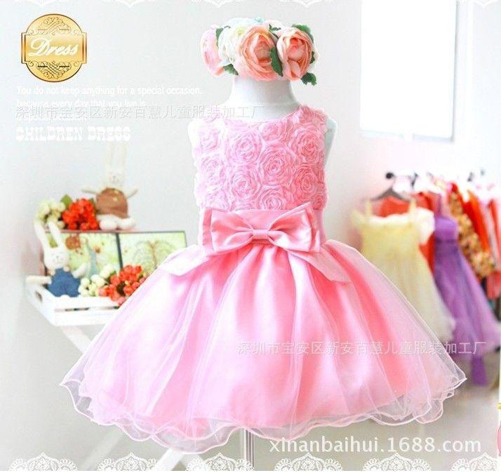 2014 summer new arrival flower princess girl dress,lace rose Party Wedding Birthday girls dresses,Candy princess tutu elegant $8.40 - 9.61