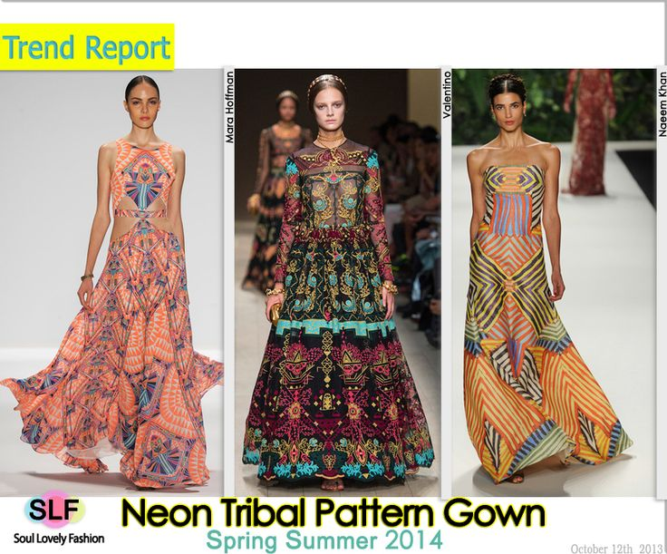 Neon Tribal Pattern Gown Fashion Trend for Spring Summer 2014 #tribal #neon #print #prints #dress #fashion #spring2014 #trends #fashiontrends2014