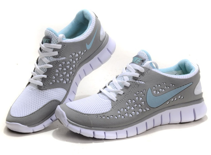 Womens Nike Free Run White Light Gray Running Shoes