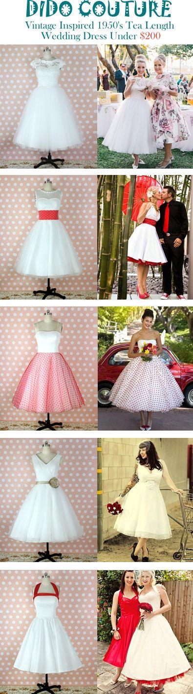 Just under $200 Calf Length Wedding dresses Vintage Polka dots