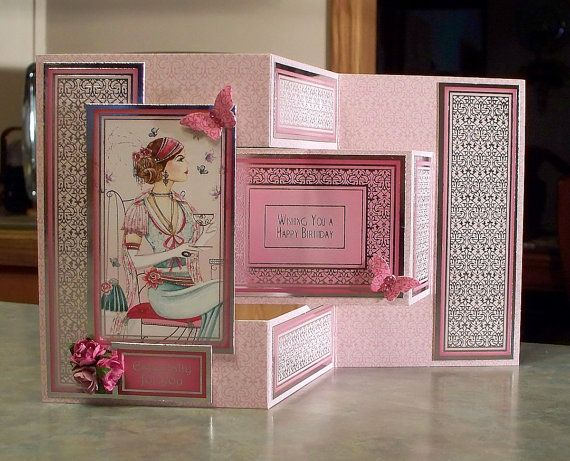 Tri-Shutter Birthday Card - Roaring 20's using Hunkydory Decadent Days - Afternoon Tea