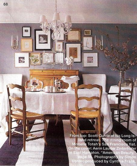 I love the bold rug mixed in,: Dining Rooms, Wall Colors, Inspiration Bohemia, Galleries Wall, Grey Wall, Frames Wall, Rooms Colors, Gray Wall, Delicious Dining