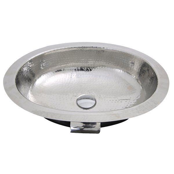 Hand Hammered Stainless Steel Oval Undermount Bathroom Sink