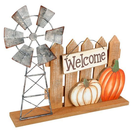 Wooden Windmill & Pumpkin Decor Accent By Ashland