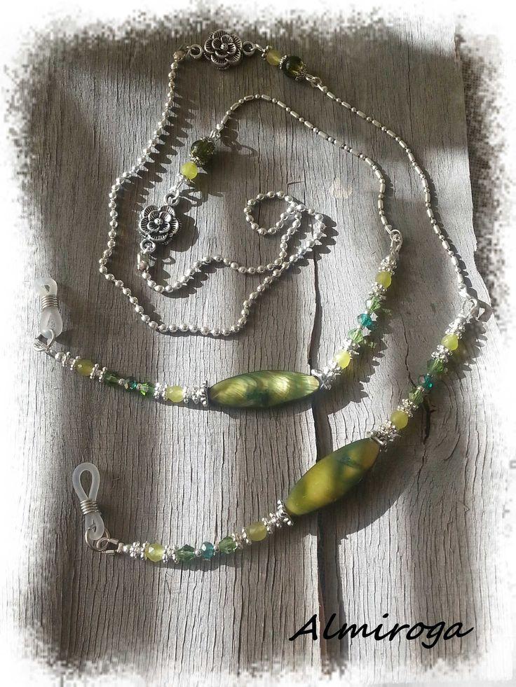 Cordon chaîne pour lunettes OLIVIA - Nacre et cristal : Lunettes, lunettes de soleil, cordons par almiroga