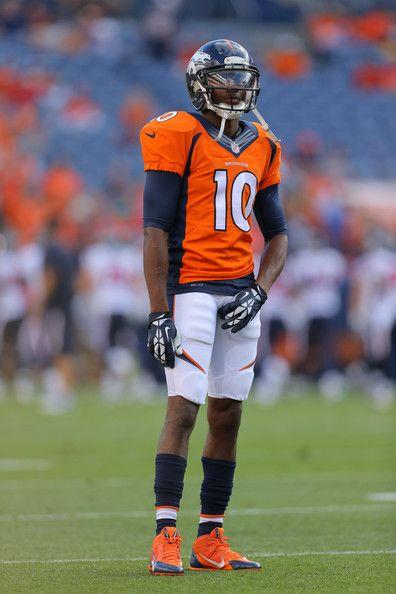 Emmanuel Sanders | Wide receiver Emmanuel Sanders #10 of the Denver Broncos stands on the ...