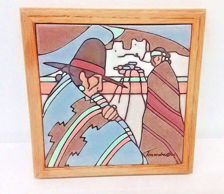 Cleo Teissedre Wall Tile Southwestern Folk Art 1986 Native American Trivet Hopi