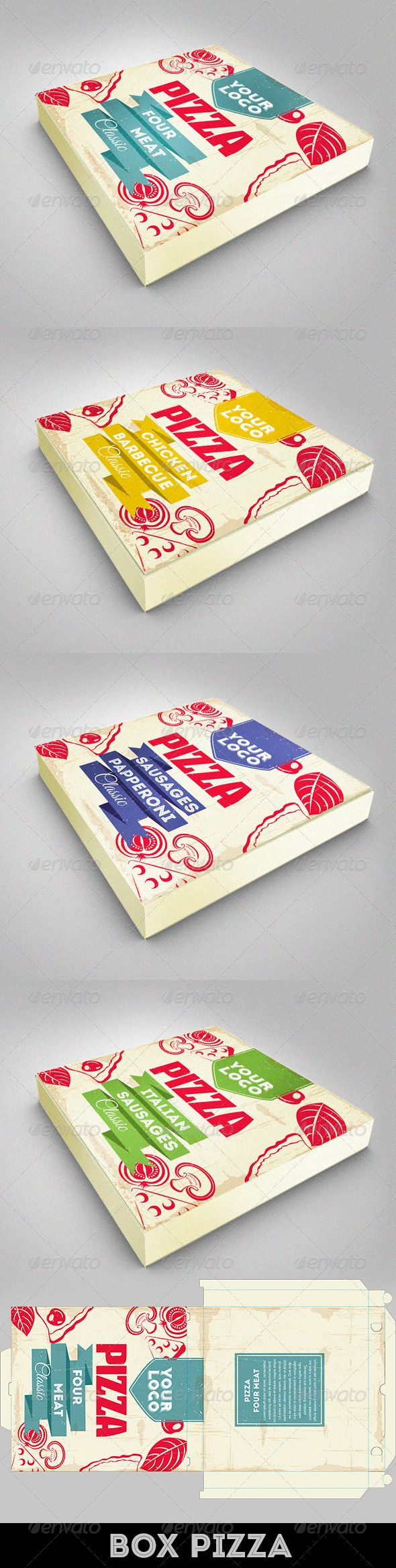Design Pizza Box - Packaging Print Templates