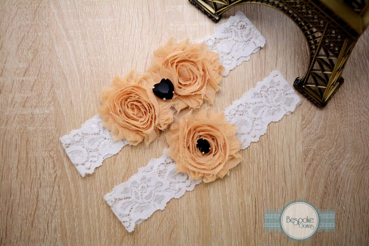 Garter Wedding Set Handmade of White Lace, Cream Nude Flower and Black Rhinestone by BespokeGarters on Etsy