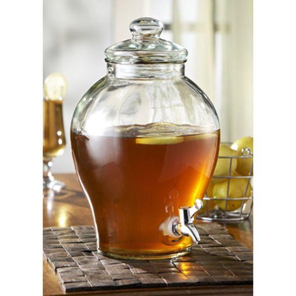 1.6 Gallon Glass Beverage Dispenser Water Jug Tea Pitcher Free Shipping #stylesetter