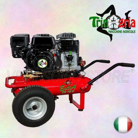 Acquista online Motocompressore TrinAgria EstìA TR 10 B, potenza 8 Hp, Motore TrinAgria Benzina, 2 serbatoi da 11+11 Litri, possiede una Capacita' di Aspirazione 600 Lt al Min, dotato di grandi ruote pneumatiche e di comode maniglie per il trasporto. Peso netto 80 Kg è ideale per la raccolta delle olive e la potatura con attrezzature pneumatiche.