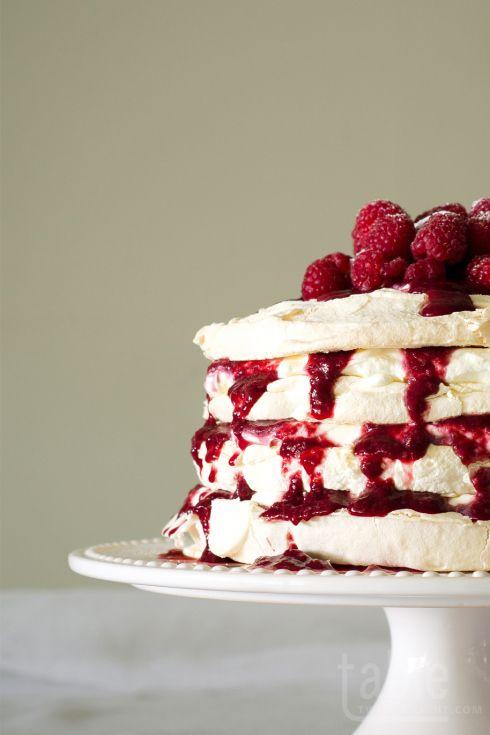 pavlova cake with lemon mascarpone & raspberry coulis