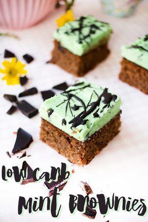 Low Carb Mint Brownies mit cremigem Frosting www.lowcarbkoestlichkeiten.de #lowcarb #paleo #glutenfrei #glutenfree