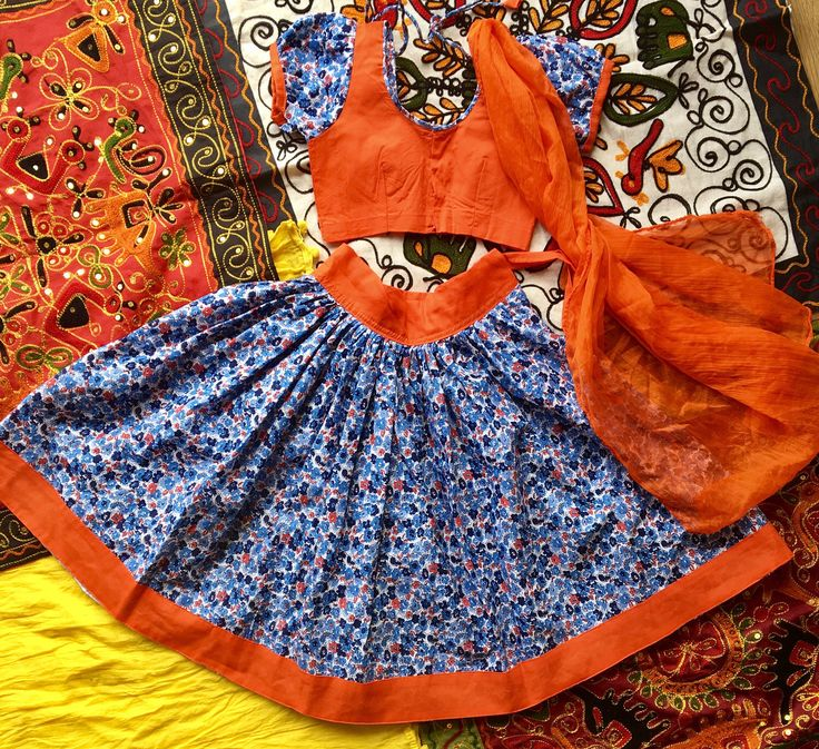 Blue and orange floral print kids gopi skirt • kids gopi skirt • Indian ethnic wear by Kasumbal on Etsy https://www.etsy.com/uk/listing/521811329/blue-and-orange-floral-print-kids-gopi