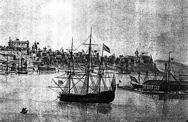 Puerto de Mahón con el Castillo de San Felipe.  Gracias al Museo Hernandez Sanz, Mahon.