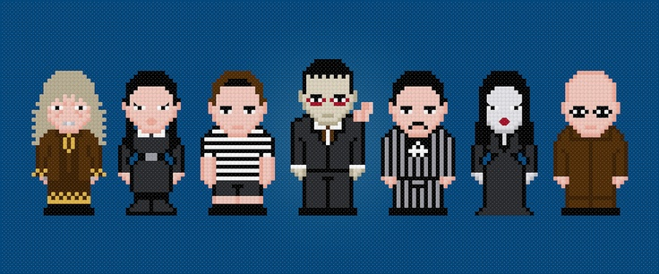The Addams Family Characters Cross Stitch PDF Pattern Download. $6.00, via Etsy.