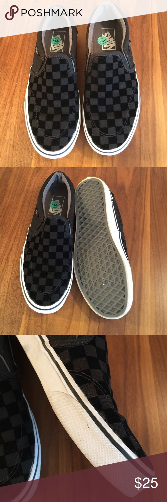 Vans Checkerboard Sneakers Black and grey checkerboard slip on sneakers. Light smudges on rubber outsole. Vans Shoes Sneakers