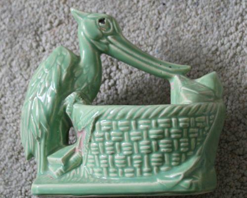 Antique Old Green Stork Delivering Baby McCoy Planter 1963 or Older Pot Vintage | eBay