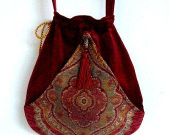 Boho kwast tas Brick Red Pocket Boho tas Tapestry koord tas Boheemse tas Crossbody portemonnee