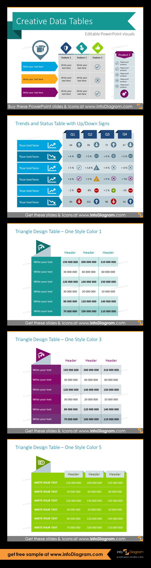PowerPoint table templates: presenting current trends, triangle design tables in different colors. Replace ugly default tables and ordered lists with blackboard or modern flat tables.