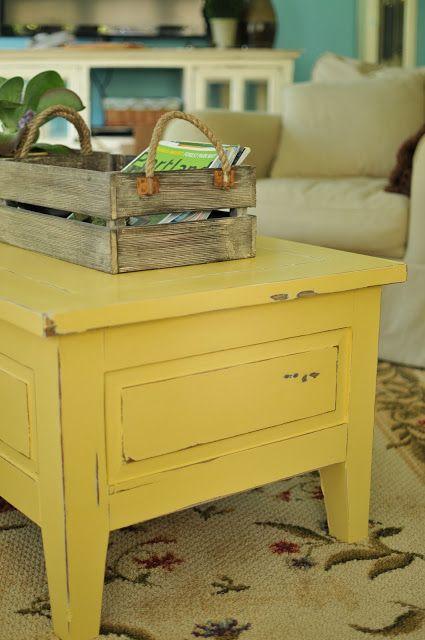 I love this yellow coffee table! Martha Stewart cornbread yellow