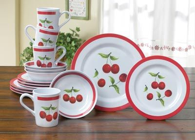 Cherry Plates Bowls and Mugs Dinnerware Set & 101 best Cherry Kitchen images on Pinterest | Retro kitchens ...