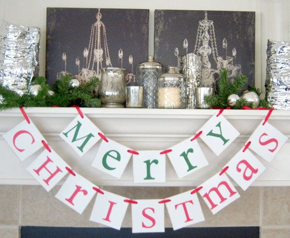 Merry Christmas banner Christmas banner by lolaandcompany on Etsy, $22.00