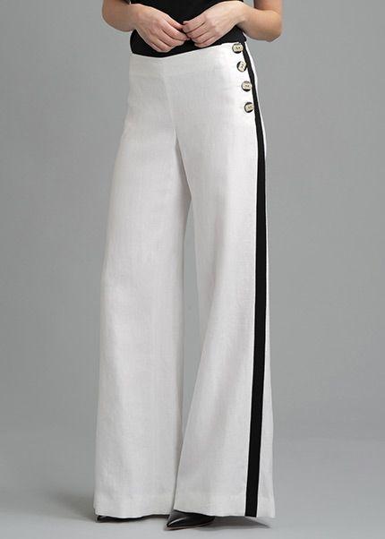Linen Wide Leg Pant with Grosgrain