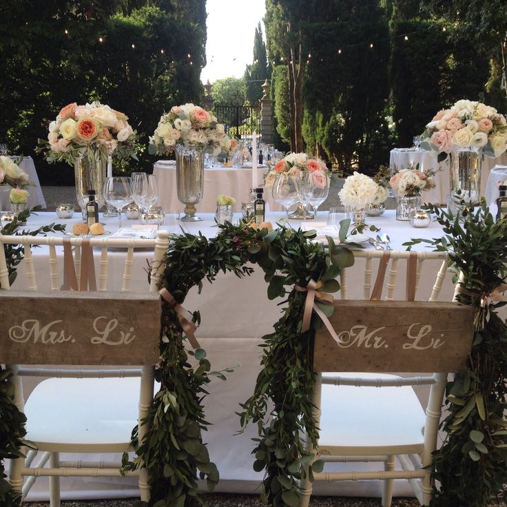 Wedding head table Under the Tuscan trees at Villa La Foce