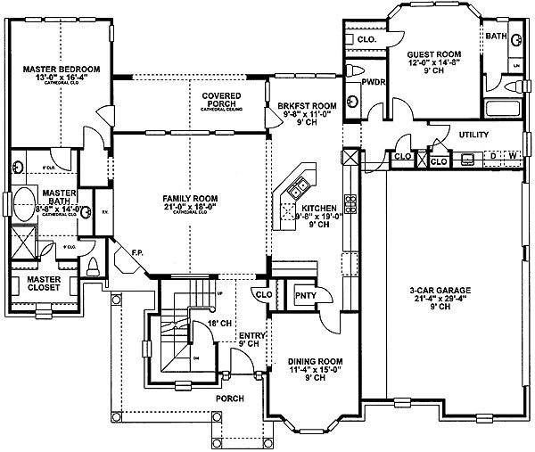Plan 4074DB: 4-Bed Brick House Plan with Secluded In-Law