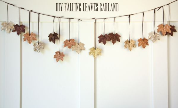 diy falling leaves glitter garland