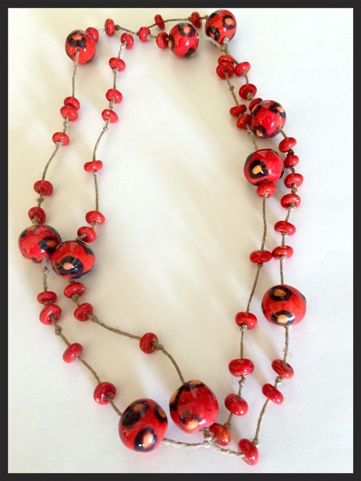 Ethnic String Necklace with Ceramic Beads