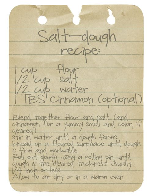 old fashioned Salt-Dough ornament recipe... Going to attempt the pets paw print ornaments I like how you can add cinnamon :)