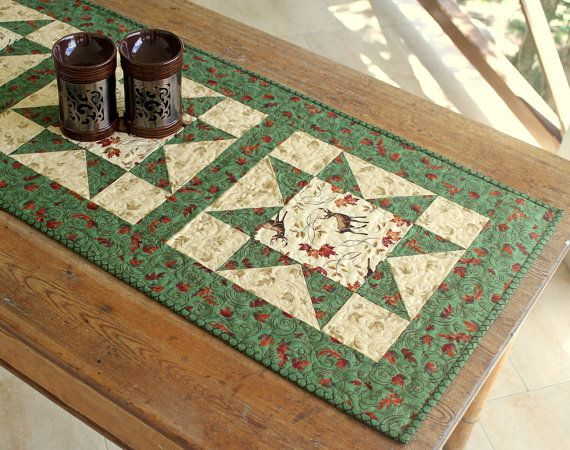 Quilted Table Runner Fall Table Runner Autumn by RedNeedleQuilts