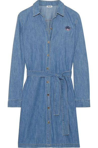 KENZO - Embroidered Washed-denim Shirt Dress - Mid denim - FR36