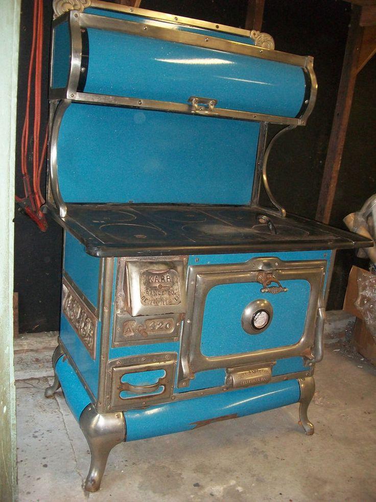 Vintage Karr Range Wood Cook Stove 420 Blue Enamel