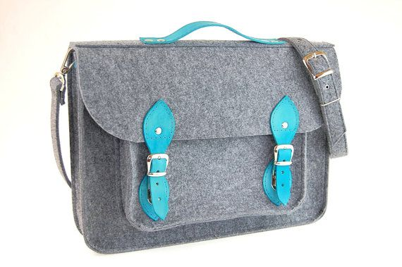 Laptop bag 13 in, felt satchel, macbook pro, macbook air 13 inch sleeve, case, bag with leather strap buckle and belt shoulder