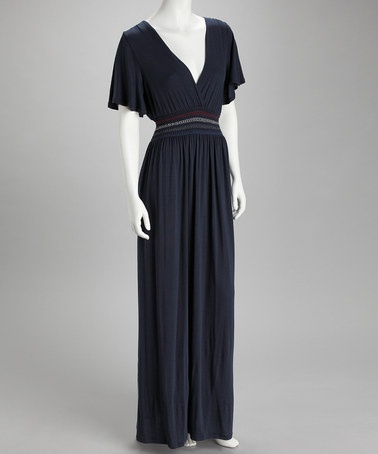 Navy Surplice Maxi Dress