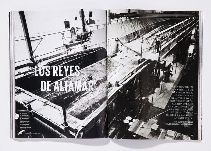 Yacht factory. Photo by Roberto Hernandez.  From Life And Style magazine, a monthly men's fashion magazine. Art Director: Roberto Hernandez.