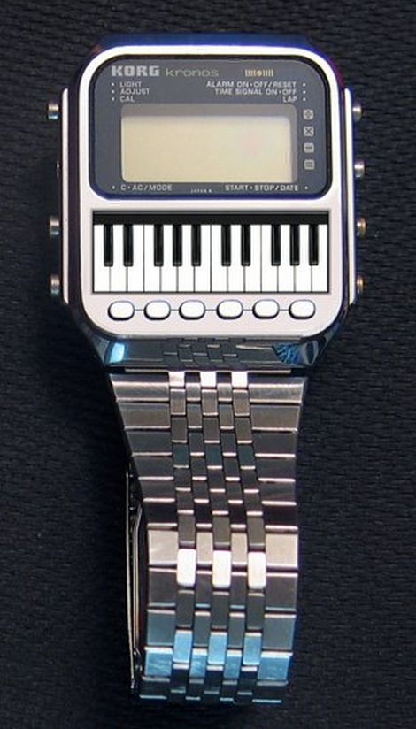 KORG kronos Watch Synthesizer ~ the name was recycled for their big flagship synthesizer..How neat as a watch! Great piece for any synth lover, seems like it would be a bit difficult to play with those small keys, so tiny - liza