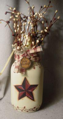 Primitive Crafts | Primitive Barn Star Candle Jar Lamp-handpainted primitive home decor ...
