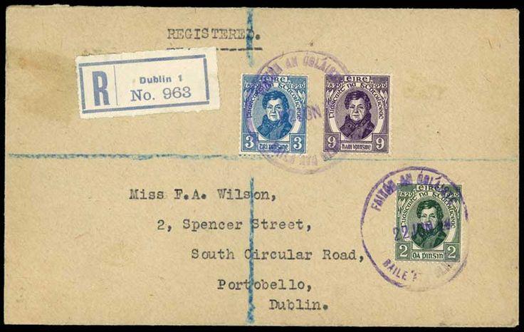 1929 O'Connell set on single registered f.d.c., Dublin violet rubber datestamps