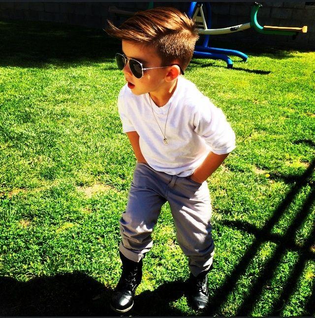 stylish little boy- boots, sunglasses