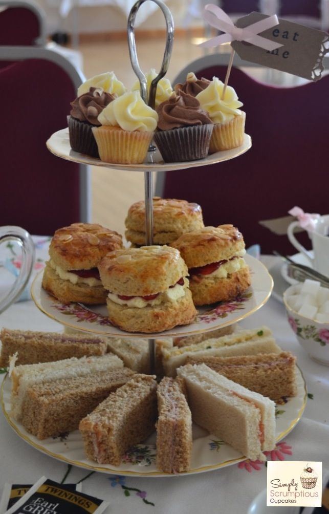 Afternoon Tea wedding celebration by Simply Scrumptious Cupcakes. Crockery hire by Agatha's Tea Party.